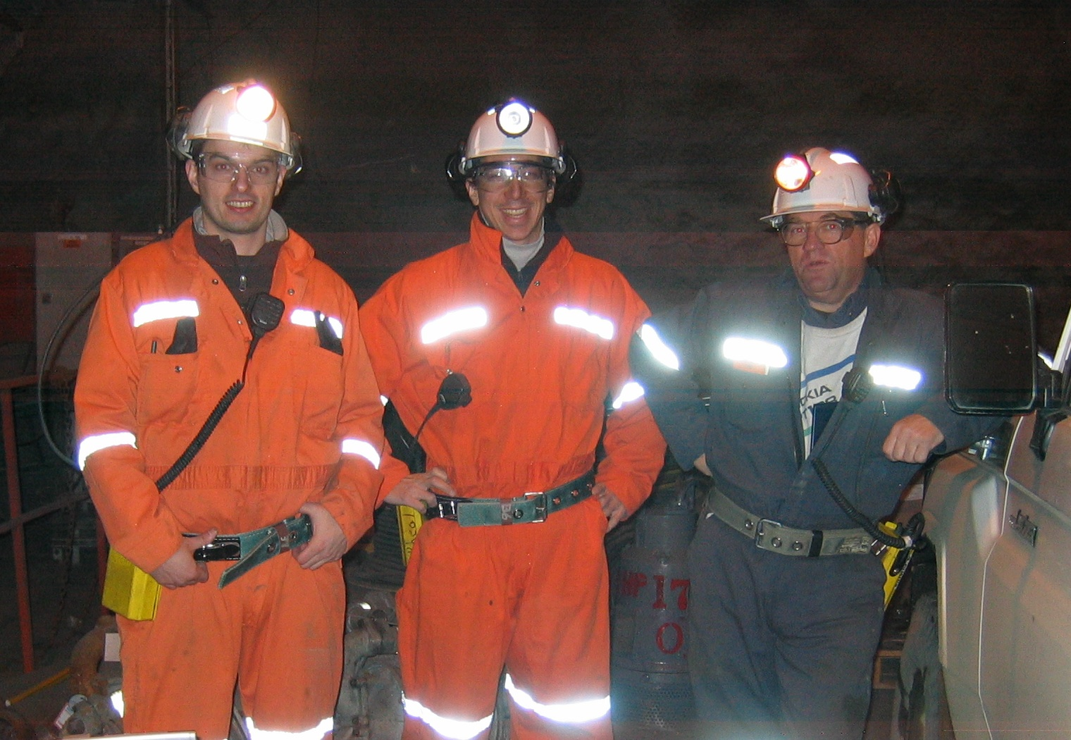 Deep in a mine with my partner, Vincent Kassis and Marc Montpellier from Jannatec Technologies.
